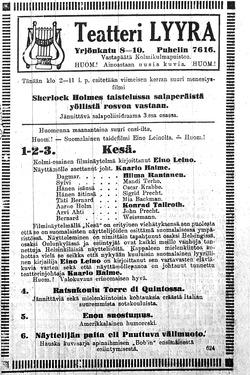 Kesä-elokuvan mainosilmoitus Uudessa Suomettaressa 17.1.1915.