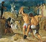 """Elsheimer, Adam - Frankfurter Kreuzaltar, Predellentafel """"Die Ausgrabung der Kreuze"""" - 1603-1605.jpg"""