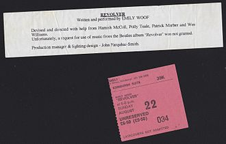 Emily Woof - Scan of ticket stub and performance info for Emily Woof's Edinburgh production of Revolver.
