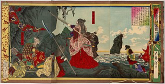 Empress Jingū - Empress Jingū, woodblock print by Tsukioka Yoshitoshi (1880)