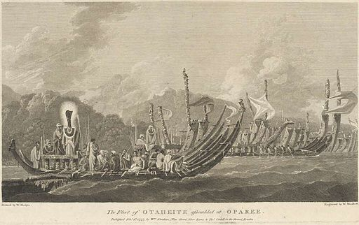 Engraving of 'The Fleet of Otaheite Assembled at Oparee'