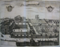 Engraving of the Brussels Minim convent and (post 1700) church, from Sanderus 1727. In the left upper background the house of Vesalius or old convent. In the right middle ground the chapel and hermitage of Our Lady of Loreto.png