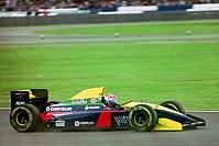 Erik Comas - Larrousse LH93 during practice for the 1993 British Grand Prix (33302817820).jpg