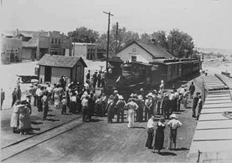 Española, New Mexico - Townspeople gather at the depot, 1930