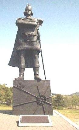Estátua do navegador Português Gaspar Corte-Real na Terra Nova ( St. John's - Newfoundland ) oferta do Estado Português..jpg
