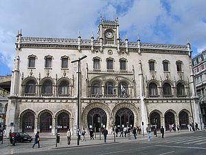 Rossio railway station - Main façade towards Rossio Square.