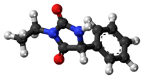 Ball-and-stick model of the ethotoin molecule