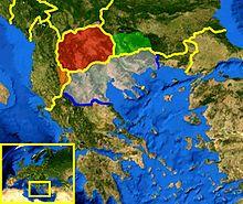 Carte représentant la grande Macédoine surimposée aux frontières modernes