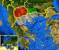 Die aktuelle geographische Region von Makedonien wird nicht offiziell durch irgendeine internationale Organisation oder einen Staat definiert. Im historischen Kontext umfasst sie Teile von fünf heutigen Ländern: Albanien, Bulgarien, Griechenland, Mazedonien und Serbien.