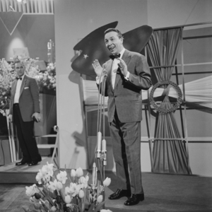 Eurovision Song Contest 1958 - André Claveau during a rehearsal, singing Dors, mon amour