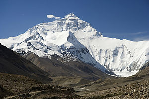Mount Everest North Face as seen from the path...