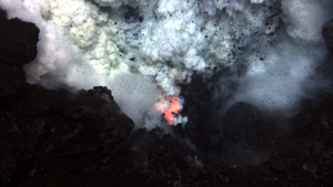 West Mata - An explosion near the summit of the volcano throws rocks and ash (May 2009)
