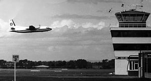 New Plymouth Airport - New Plymouth Airport control tower in 1970.