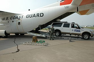 An NRC FEMA First Team truck being loaded onto a Coast Guard plane for flight to Puerto Rico FEMA - 31523 - FEMA FIRST Team truck loaded into Coast Guard plane for flight to Puerto Rico.jpg