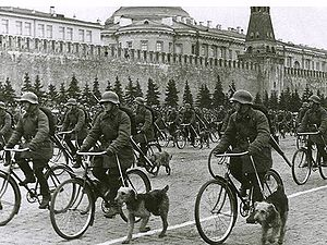 Anti-tank dog - Military parade on Red Square, Moscow, 1 May 1938
