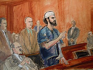 "Elizabeth Williams (artist) - FAISAL SHAHZAD, THE ""TIMES SQUARE BOMBER"" SENTENCING, MANHATTAN FEDERAL COURT: OCTOBER 5, 2010"