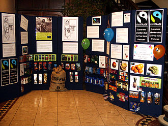 Fair trade coffee - Fair trade produce display.