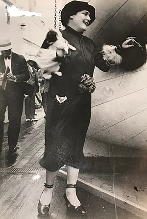 Fannie Hurst - Fannie Hurst boarding the SS Leviathan with a dog in 1925 in New York