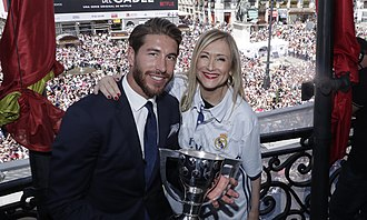 2016–17 La Liga - Real Madrid captain Sergio Ramos and Community of Madrid President Cristina Cifuentes with the Primera División trophy during celebrations in Madrid.