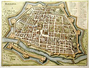 Duchy of Ferrara - Ferrara, walled and moated, ca 1600.