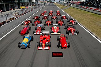 History of Formula One - Some Scuderia Ferrari Formula One cars from between 1950 and 2002