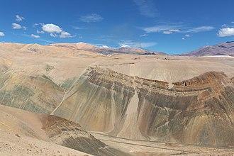Potrerillos, Chile - Ferronor GR12U climbing the grade to Potrerillos (in the background)