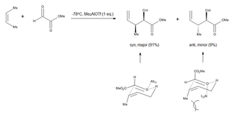 Ene reaction -  Figure 4. Chair-like transition state proposed for Lewis-acid catalyzed carbonyl-ene additions