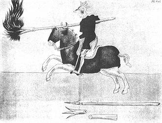 Fire lance - A knight wielding a fire lance ca. 1396.