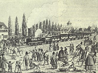 1835 in rail transport - Drawing depicting the operation of the first German railway