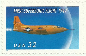 Bell X-1 - A 1997 United States Postal Service stamp commemorates Bell X-1, the first plane to fly faster than the speed of sound
