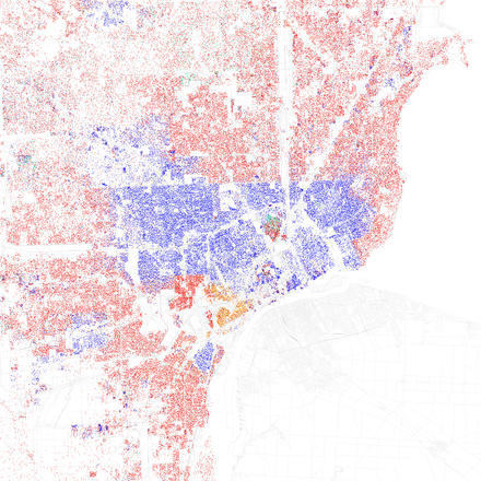 Map of racial distribution in Detroit, 2010 U.S. Census. Each dot is 25 people: White, Black, Asian, Hispanic or Other (yellow) FischerDetroit2010Census.png