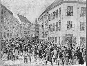 1848 in Denmark - Demonstration for democratic reforms on 21 March in Copenhagen