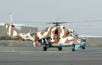 Djibouti Air Force - A Djiboutian Mi-35 on a taxiway