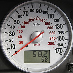 Miles per hour - Automobile speedometer, indicating speed in miles per hour on the outer scale and kilometres per hour on the inner scale