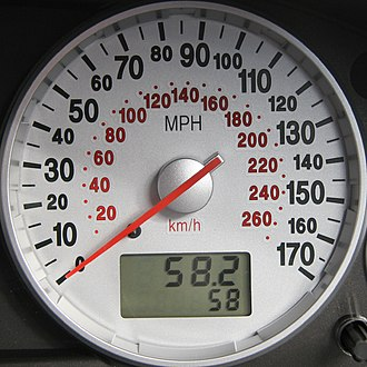 Kilometres per hour - Automobile speedometer, indicating speed in miles per hour (MPH) on the outer scale and kilometres per hour on the inner scale. In Canada it is the outer scale that is indicated in km/h and the inner scale in MPH, if the latter appears at all.