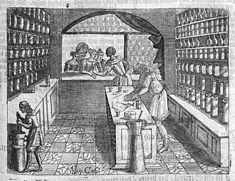 Retail - A typical 17th century shop, with customers being served through an opening onto the street