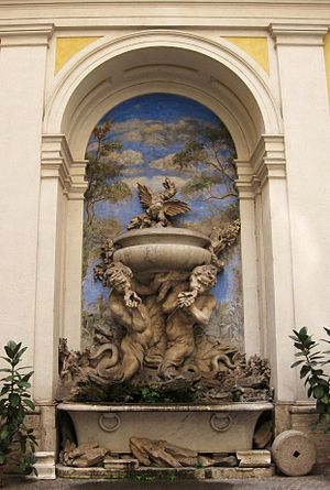 Domus Internationalis Paulus VI - Fountain at the main courtyard of Domus Paulus VI, Rome, Italy. Work of the School of Bernini.