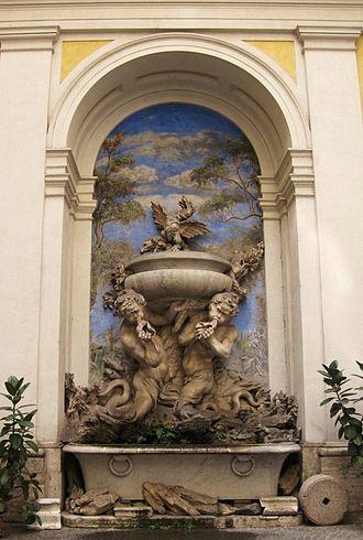 Domus Internationalis Paulus VI - Fountain at the main courtyard of Domus Paulus VI, Rome, Italy. Work of the School of Bernini.