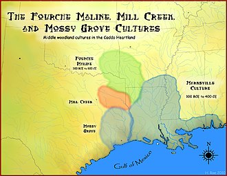 History of Louisiana - Map of the Fourche Maline and Marksville cultures