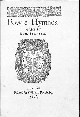 Edmund Spenser - Title page, Fowre Hymnes, by Edmund Spenser, published by William Ponsonby, London, 1596