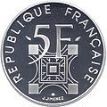 France, 1989 - 5 francs, Fifth Republic, 100 years of the Eiffel Tower, silver, reverse.jpg