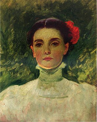 Frank Duveneck - Portrait of Maggie Wilson (1898), oil on board, 38.10 x 30.48 cm, Museum of Fine Arts, Houston, Texas, USA
