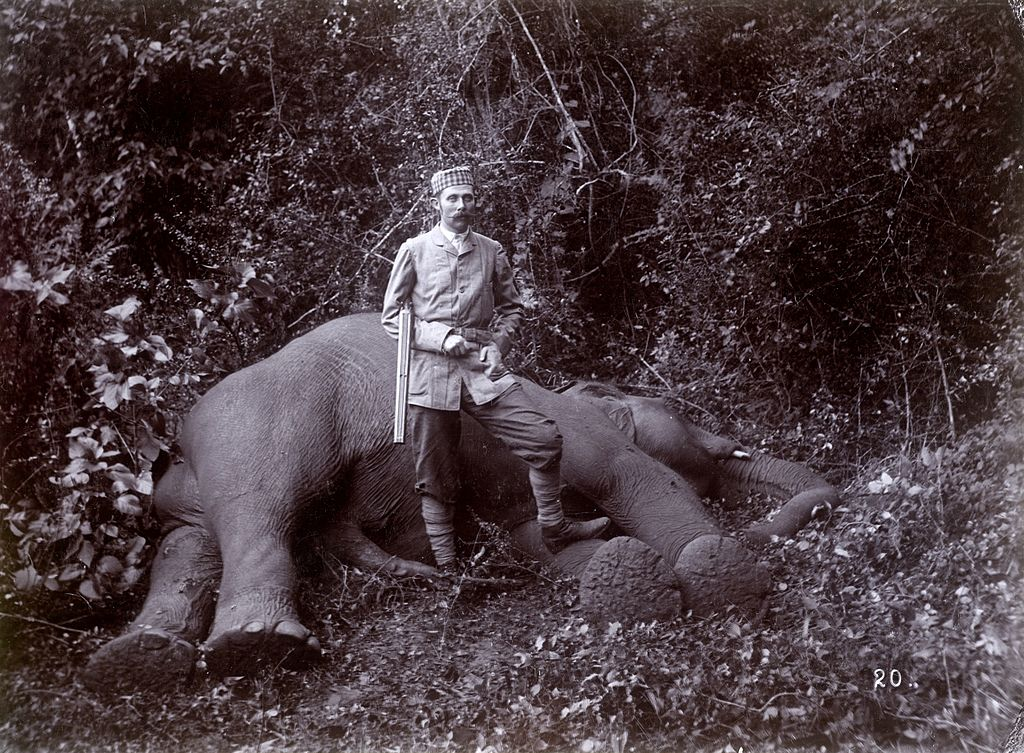 Archduke Franz Ferdinand posing in front of a dead elephant during a hunting expedition in Ceylon (Sri Lanka), 1893 [1024 x 753]