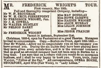 Huntley Wright - 1885 advertisement for the Wright family company, listing Wright under his early stage name Walter Huntley