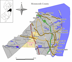Map of Freehold Township in Monmouth County. Inset: Location of Monmouth County highlighted in the State of New Jersey.