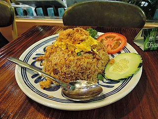 Fried rice Cooked rice stir-fried with egg and other ingredients