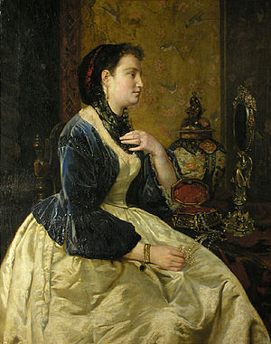 Friedrich Kaulbach - Woman at her jewelry table