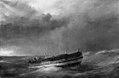 Friedrich Theodore Kloss - Et orlogsskib efter fransk konstruktion i færd med at kappe de master, der er gået over bord i en storm - KMS358 - Statens Museum for Kunst.jpg