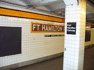 Fort Hamilton Parkway (IND Culver Line) - Image: Ft Hamilton F NYC Subway Station by David Shankbone