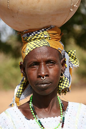English: Fulani woman with traditional nose ri...